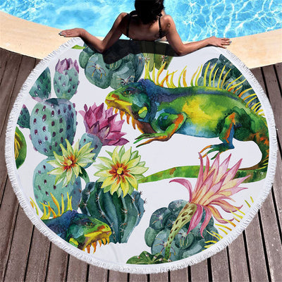 Cactus Thick Terry Round Beach Towel/Round Yoga Mat with Fringe Tassels