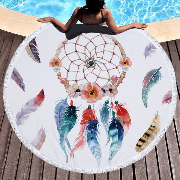Dreamcatcher Thick Terry Round Beach Towel/Round Yoga Mat with Fringe Tassels