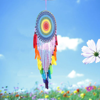 Bohemia Chakra Dream Catcher with Rainbow Feather