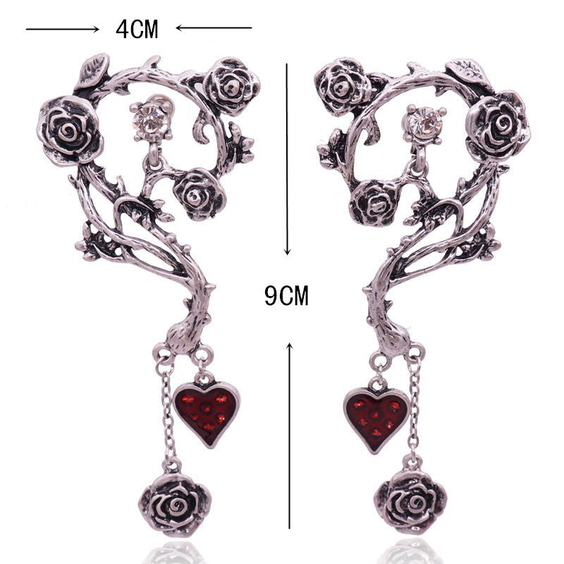 Silver Gothic Rose Necklace/ Earrings