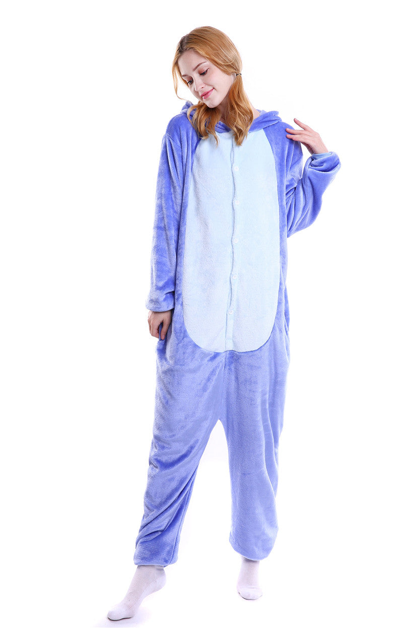 Blue Stitch and Pink Stitch Adult Pajamas Kigurumi Cosplay Costume Animal Winter Onesie Sleepwear - Laizis