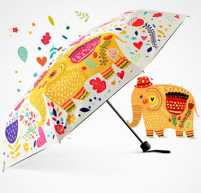 Elephant Floral 3 Folds Auto Folding Sun Rain Umbrella - Laizis