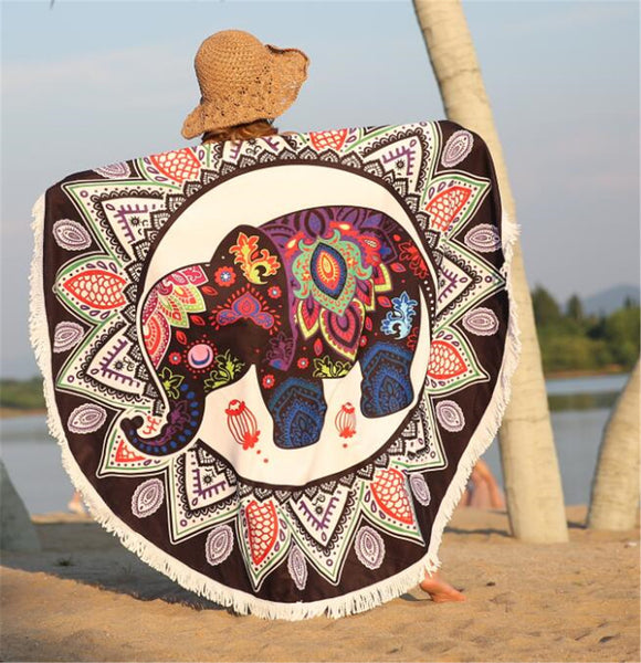 INDIAN ELEPHANT MANDALA BEACH TOWEL & TAPESTRY - Laizis