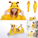 Pikachu Adult and Children Pajamas Kigurumi Cosplay Costume Animal Winter Onesie - Laizis