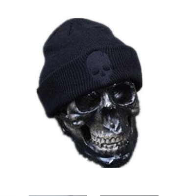 Embroidery Skull Knit Warm Hat