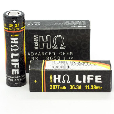 Hohm Life 3077mah 18650 Battery 2 Pack