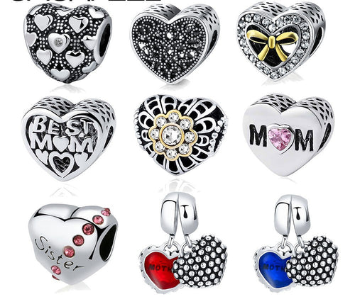 Big Hole Heart Beads Charms- Fits Pandora Women Charm Bracelets & Bangles Jewelry - AccessorTees