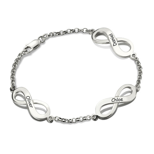 Sterling Silver Custom and Personalized Triple Infinity, Name Bracelet - AccessorTees