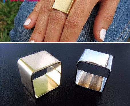 Designer Gold/Silver Polish Metal Square Finger Rings - ONLY SIZE 8 LEFT! - AccessorTees