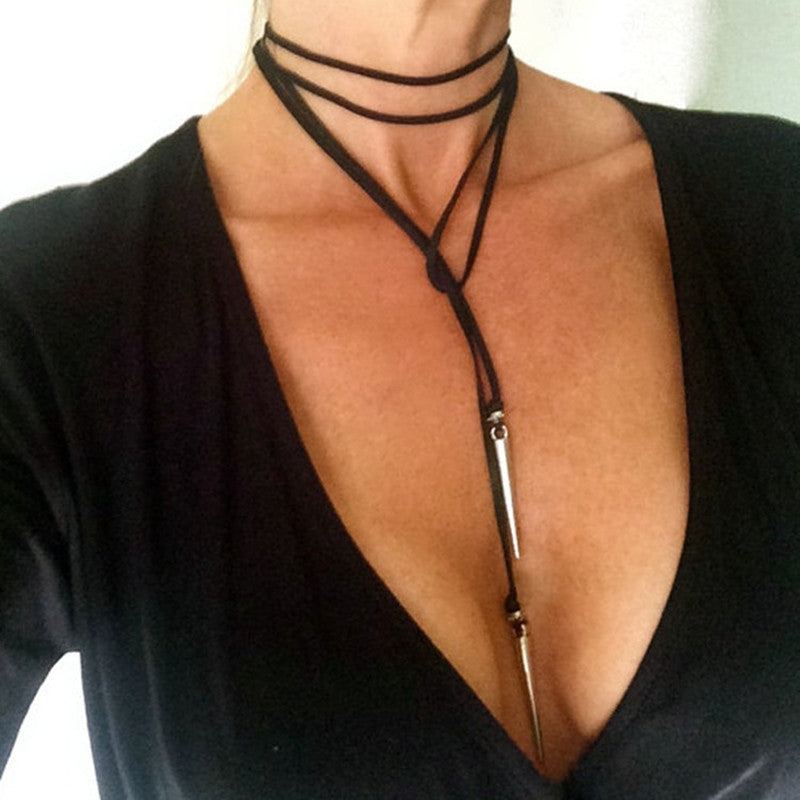 Black Suede Leather Cord Necklace - AccessorTees