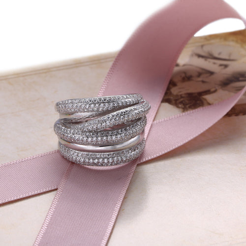 New Hollow Sterling Silver Stacking Ring With Clear Zirconia - AccessorTees