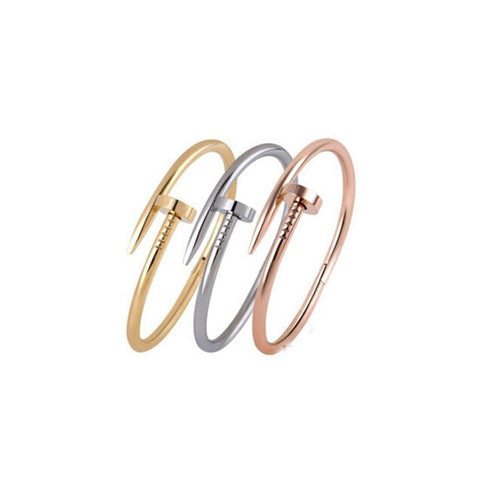 Adjustable Silver/ Black/ Rose Gold/ Stainless Steel Nail Rivet Open Metal Cuff Bangles - AccessorTees