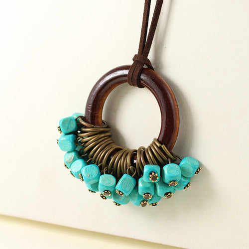 Long Statement Necklace with wood beads - AccessorTees