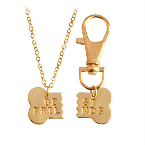 2pcs/set Gold or Silver Dog Bone Best Friends Charm Necklace & Keychain - AccessorTees