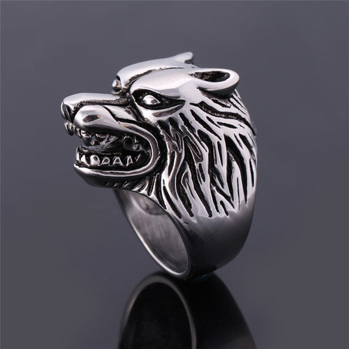 Stainless Steel Wolf Men Ring - AccessorTees