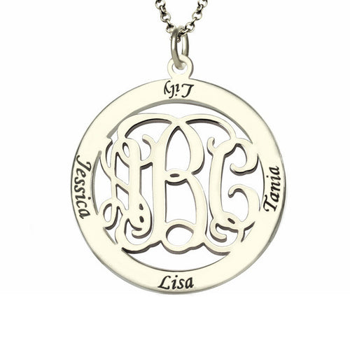 Sterling Silver Monogram Mother's Necklace with Custom Circle Family Names - AccessorTees