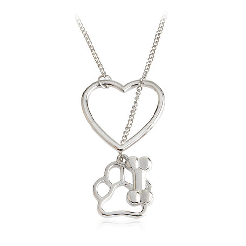 Hollow Dog Paw Claw Bone Heart Pendant Necklace - AccessorTees