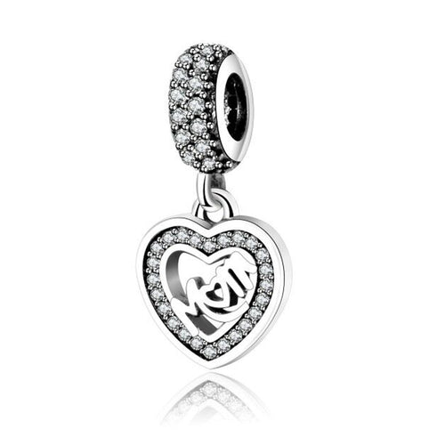 Sterling Silver Beads Mom Dangle Charm With Cubic Zirconia- Fit Pandora Charms Bracelets - AccessorTees