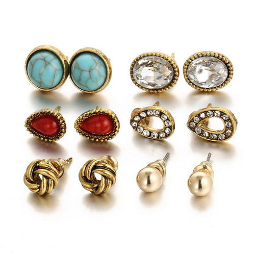 6 pairs/ set Vintage  Earrings Stone Beads - AccessorTees