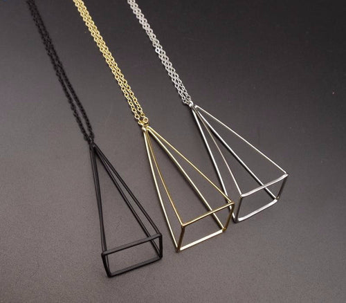 Gold/Silver/Black Cube Triangle 3D Long Necklaces - AccessorTees