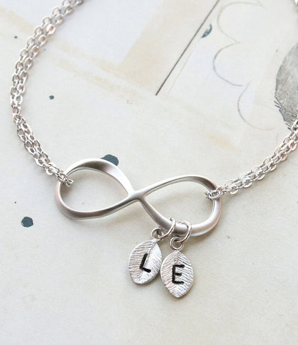 Infinity Bracelet with Leaf shaped Initial Charms - AccessorTees