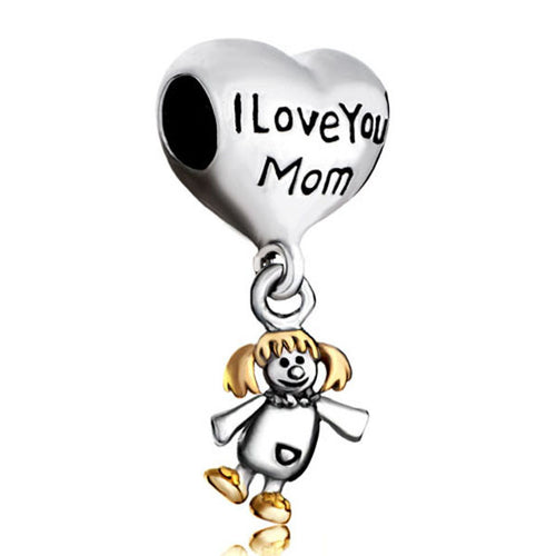 Silver Heart I Love You Mom  Charm Beads- Fits Pandora Charm Bracelets - AccessorTees