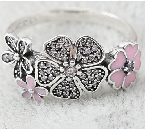 Shimmering Daisy Flower Bouquet Ring- Pandora inspired