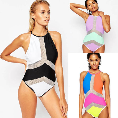 Sexy Mesh Color Block  One Piece High Neck Swimsuit