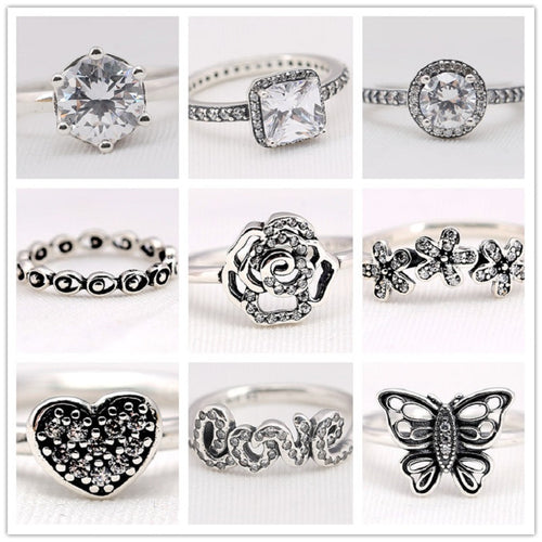 Sterling Silver Pandora-inspired Sparkling Flowers Rings -Several styles to choose from