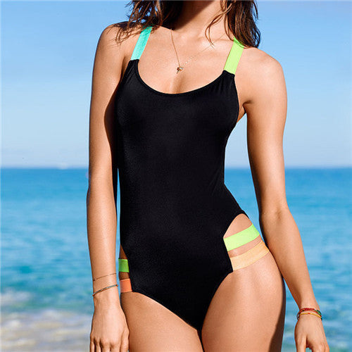 One Piece Swimsuit- Backless with Colored Straps