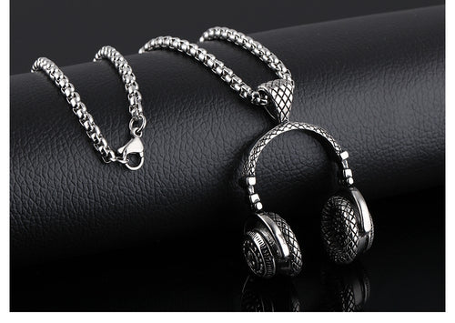 Men Hip Hop Beats Headphone Pendant Necklace - AccessorTees