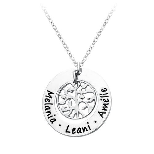 Custom Engraved Family Tree Necklace - AccessorTees