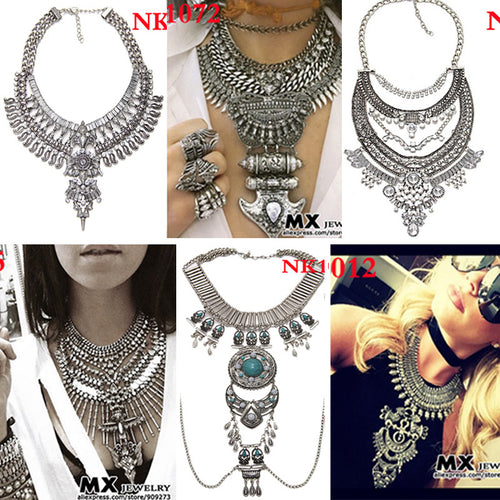 Various Vintage Styles Metal Statement Necklaces - Bib Collar Chokers - AccessorTees