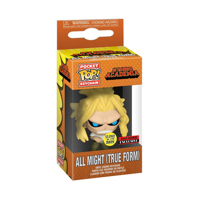 Funko Pocket POP: My Hero academia-All Might (True Form) -Glow in the Dark- AAA Exclusive Vinyl Keychain
