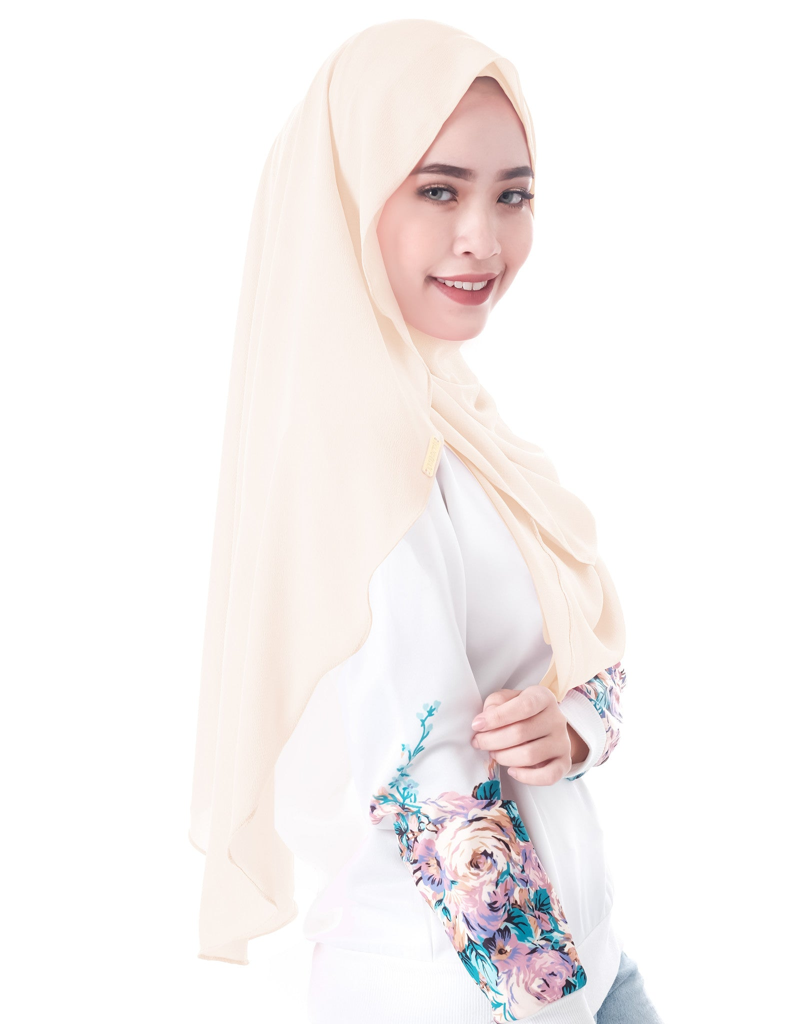 Dshawl in Beige by Thiirty8. Pinless Full Instant Shawl. Made of Bubble Chiffon.