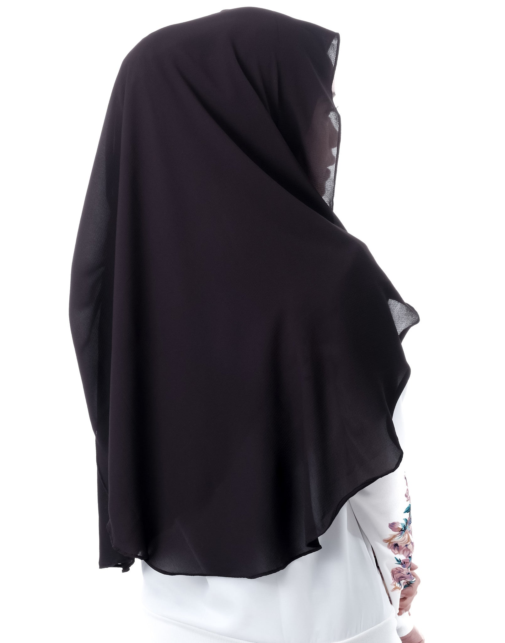 Dshawl in Black by Thiirty8. Pinless Full Instant Shawl. Made of Bubble Chiffon.