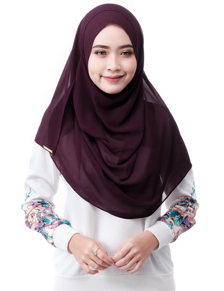ELLE in Deep Purple by Thiirty8. Two Loop Instant Shawl. Premium Chiffon Georgette.