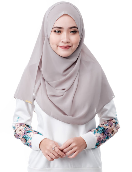 ELLE in Grey by Thiirty8. Two Loop Instant Shawl. Premium Chiffon Georgette.