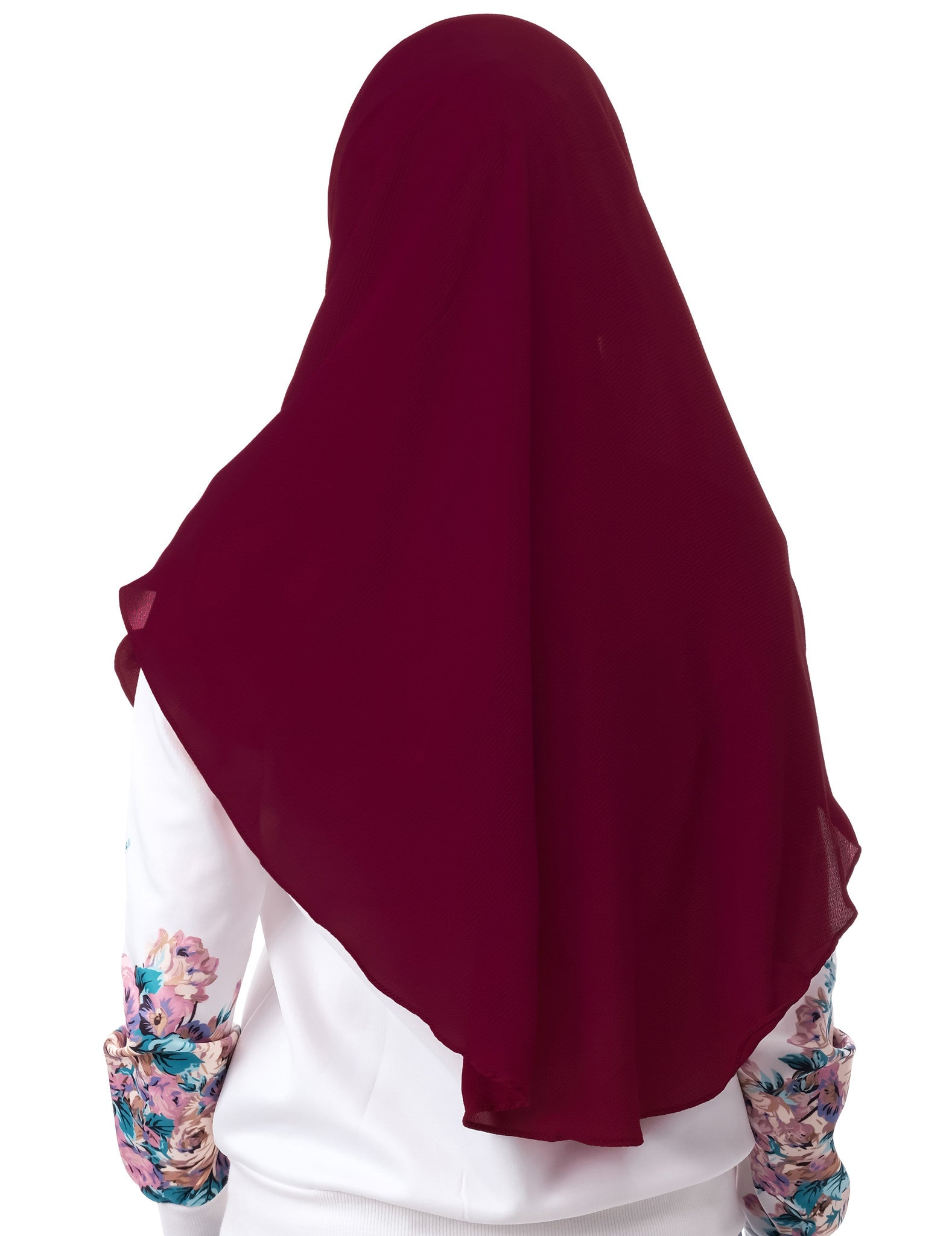 Dshawl in Maroon by Thiirty8. Pinless Full Instant Shawl. Made of Bubble Chiffon.