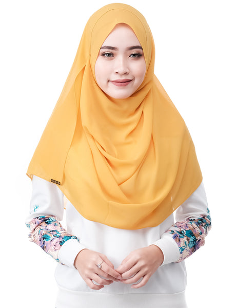 ELLE in Mustard by Thiirty8. Two Loop Instant Shawl. Premium Chiffon Georgette.