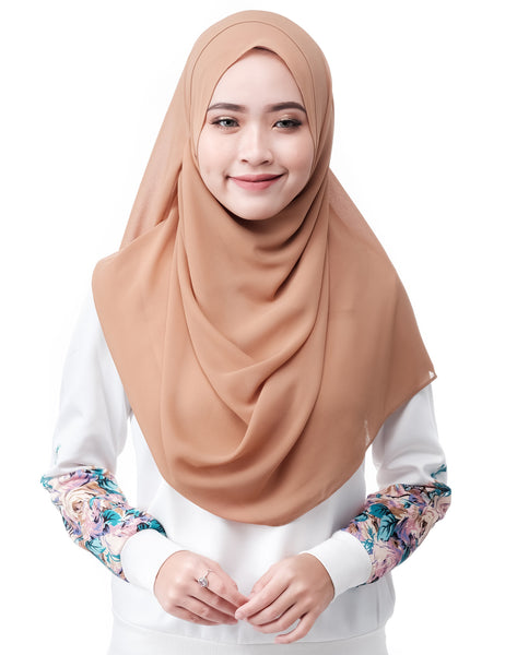 ELLE in Sand by Thiirty8. Two Loop Instant Shawl. Premium Chiffon Georgette.