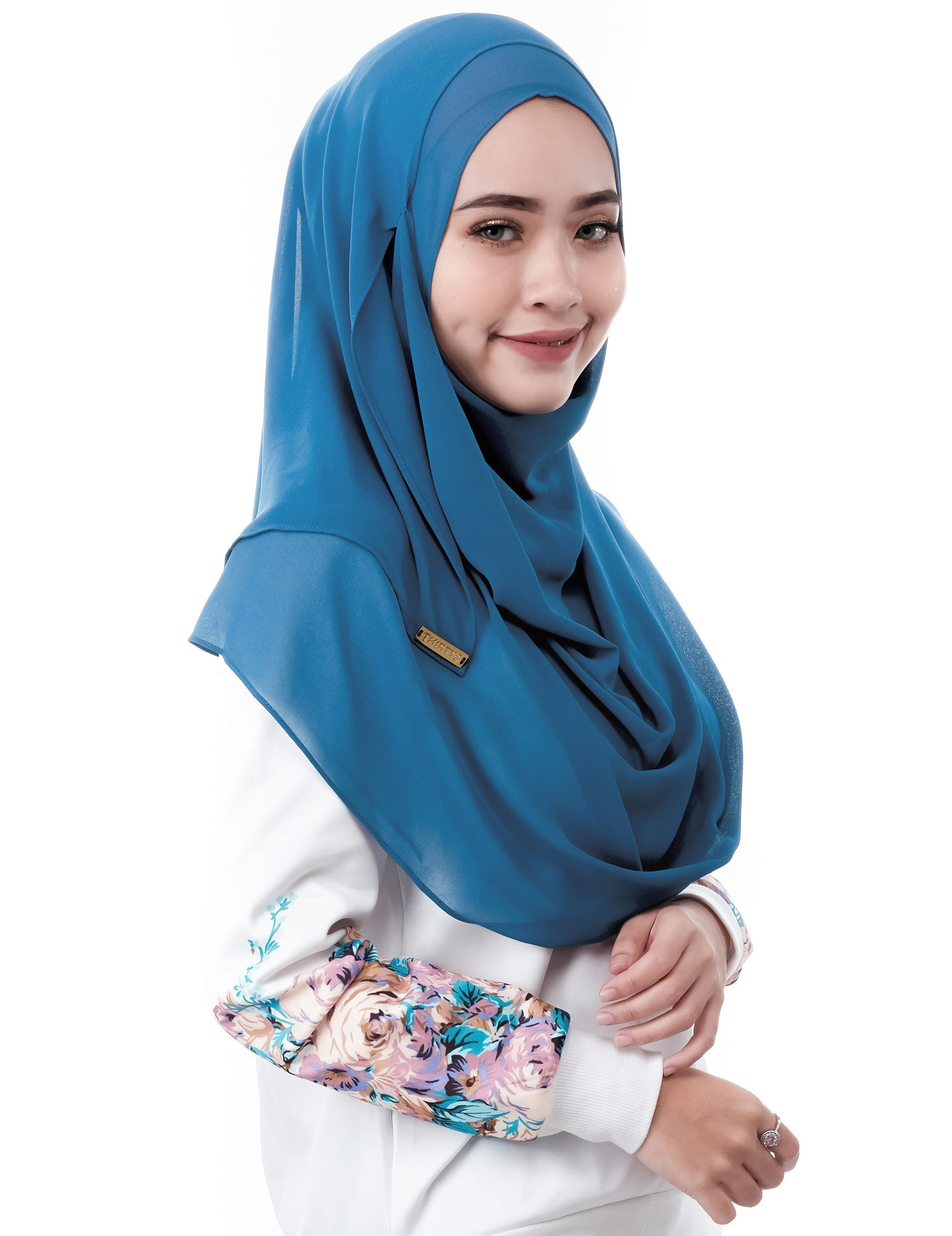 ELLE in Teal by Thiirty8. Two Loop Instant Shawl. Premium Chiffon Georgette.