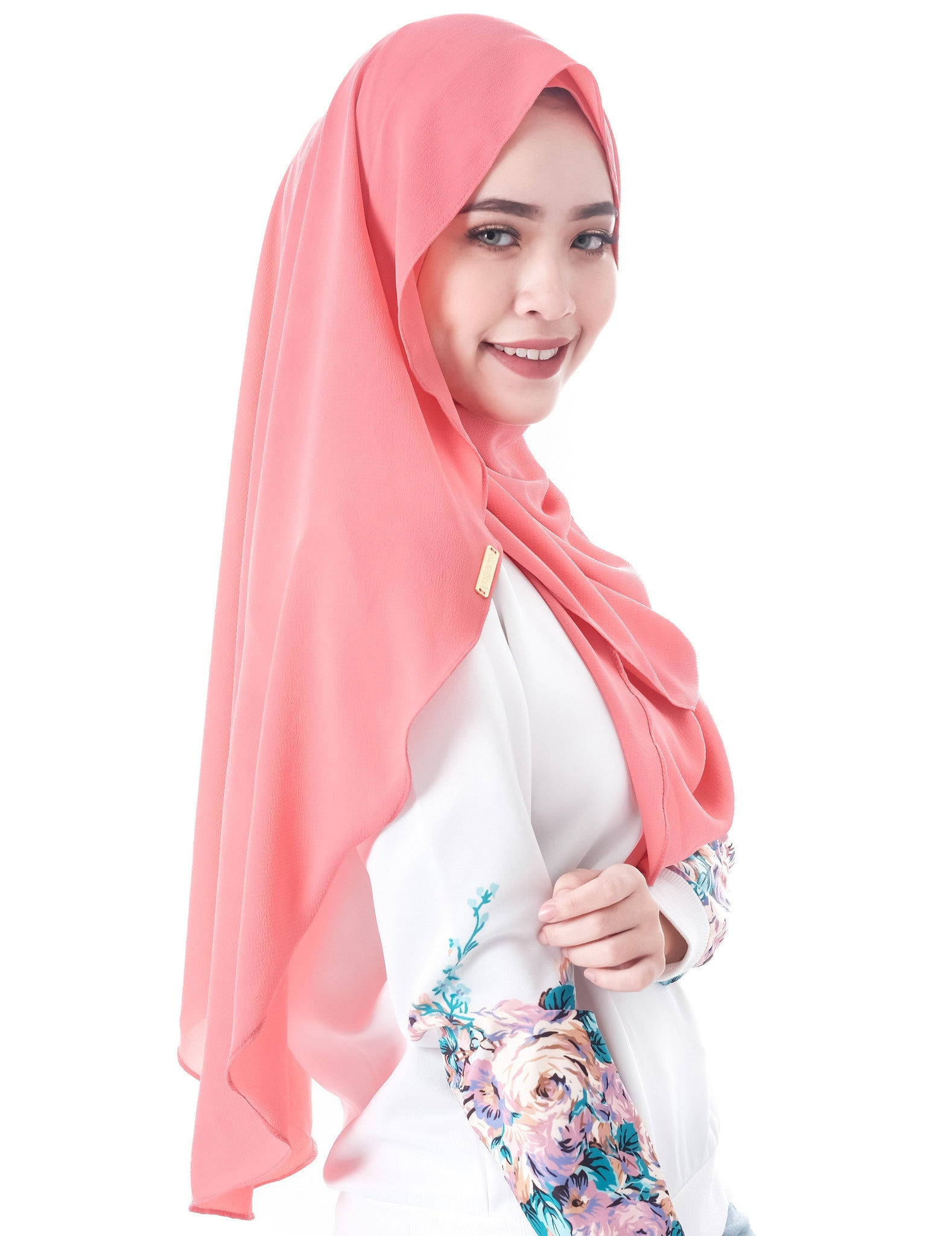 Dshawl in Watermelon by Thiirty8. Pinless Full Instant Shawl. Made of Bubble Chiffon.