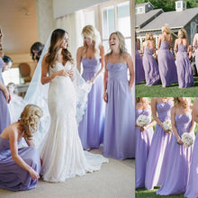 Charming Lavender Long Strapless Sweetheart Wedding Party Dress Bridesmaid Dresses for Low Budget,#110502