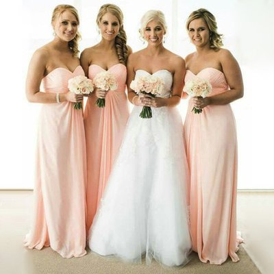 Pink Strapless Long Chifffon Bridesmaid Dresses,#110505-Dolly Gown