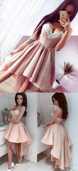 Trending Dusty Pink High Low Homecoming Dress/Prom Dress with lace appliques at neckline,#110506