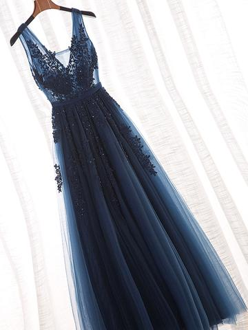 Glamorous Navy Blue Lace Tulle V Neck See Through Prom Dress #110507-Dolly Gown