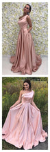 Simple Elegant One Shoulder Pink Box Pleated Prom Dress with Pockets #110508