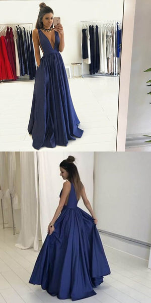 Sexy Blue Simple Formal Prom Dress Long Evening Dress in Deep V Neck,18021603