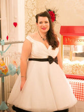 1950s Plus Size Vintage Polka Dot Short Wedding Dress,20111660
